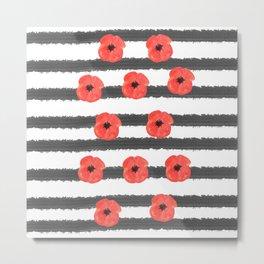 Red poppy with black stripes  Metal Print