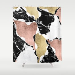Modern white black marble rose gold foil color block handdrawn geometric lines Shower Curtain