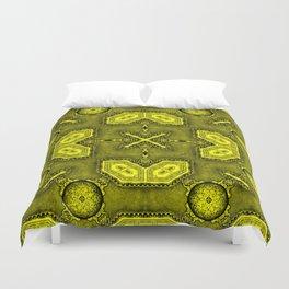 Victorian Art Deco Medieval Pattern bright yellow SB26/5 Duvet Cover