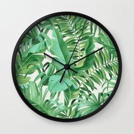 Green tropical leaves III Wall Clock