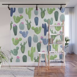 watercolor cacti plants pattern Wall Mural