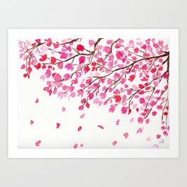 Rain of Cherry Blossom Art Print