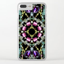 Bling Jewel Kaleidoscope Scanography Clear iPhone Case