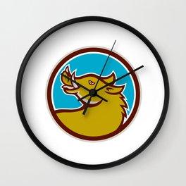 Razorback Head Looking Up Circle Retro Wall Clock