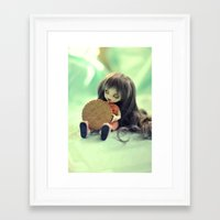 cookie monster Framed Art Prints featuring Cookie Monster  by Aleksandra Piątkowska