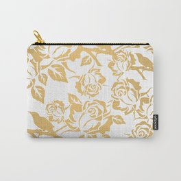 Gold Roses on White Carry-All Pouch