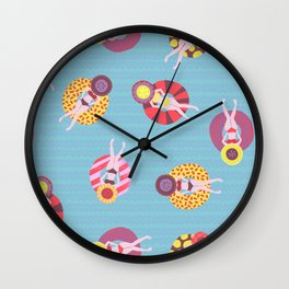 Floating in the Pool Pattern. Women on colorful floaties. Wall Clock