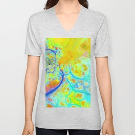Emerging Galaxies – Abstract Teal & Lime Currents Unisex V-Neck
