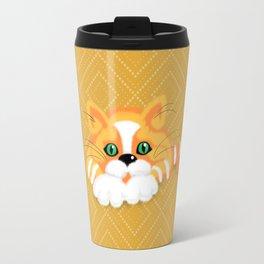 Cute Fluffy Ginger and white cat Travel Mug