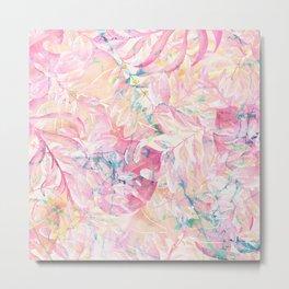 Modern pink coral green watercolor tropical leaves floral Metal Print