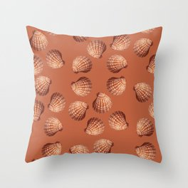 Orange big Clam pattern Illustration design Throw Pillow