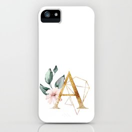 Geometric Floral Gold Letter A iPhone Case