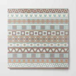 Aztec Influence Pattern Blue Cream Terracottas Metal Print