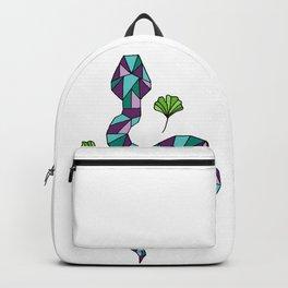 Geometric Snake and Ginkgo Leaves Backpack