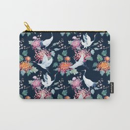 Vintage Japanese crane birds illustration pattern Carry-All Pouch