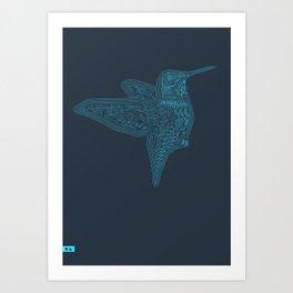 Humming Bird Blue Art Print