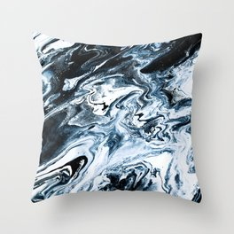 M A R B L E - dark blue & white Throw Pillow