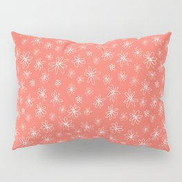 Loopy Flowers - white on coral Pillow Sham