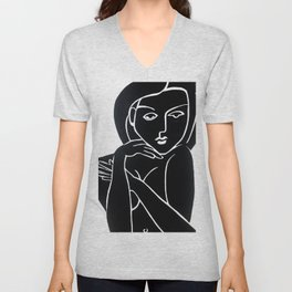 Vanity Girl -  POP ART PAINTING GIANT PRINTS Nude Unisex V-Neck