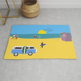Surfer beach Rug