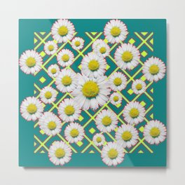 Teal Color Shasta Daisies Lime Pattern Art Abstract Metal Print