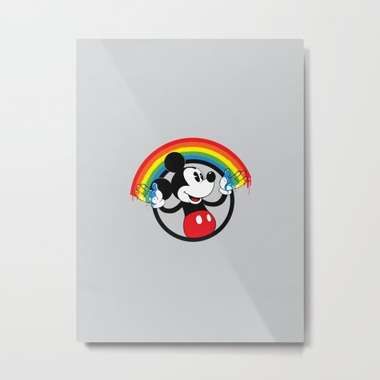 Mickey Rainbow Metal Print