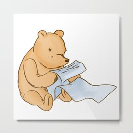 Pooh Reading Metal Print