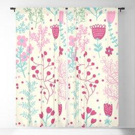 Elegant Pink Ditsy Floral Pattern Blackout Curtain