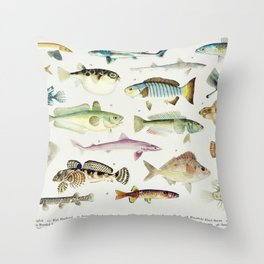 Illustrated Colorful Southern Pacific Ocean Exotic Game Fish Identification Chart No. 3 Throw Pillow