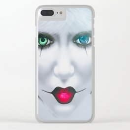 Harlequin Eyes Of A Different Color Clear iPhone Case