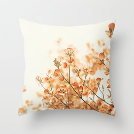 Orange Apricot Peach Coral Salmon Flower Photography, Floral Spring Tree Branches Throw Pillow