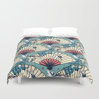 fantasy Duvet Covers featuring Oriental FanTasy by Paula Belle Flores