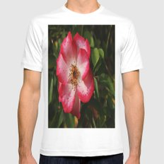 Pink Flower Mens Fitted Tee White MEDIUM