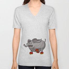 Elephants love red rollerskates Unisex V-Neck