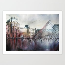 Le Louvre - Paris Watercolor Art Print