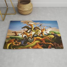 Classical Masterpiece 'Little Big Horn - Custer's Last Stand' by Thomas Hart Benton Rug