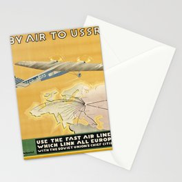 locandina By Air to USSR voyage poster Stationery Cards