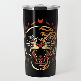 Panther and tiger half faced tattoo cartoon flames Travel Mug