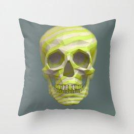 Yellow pop candy skull 3D render. Throw Pillow