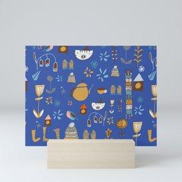 hygge cat and bird blue Mini Art Print