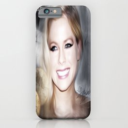 A Beautiful Avril Lavigine Singing wallpaper/posrer design iPhone Case