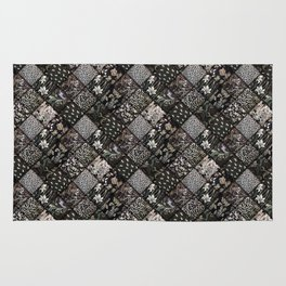Faux Patchwork Quilting - Black Rug