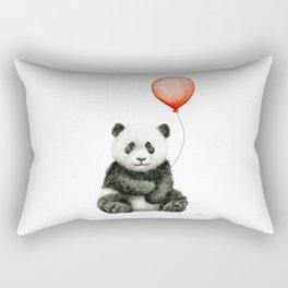 Baby Panda and Red Balloon Rectangular Pillow