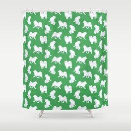 Samoyed Pattern (Green Background) Shower Curtain