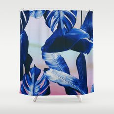 Cobalt blue tropical leaves Shower Curtain