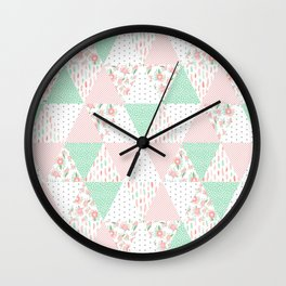 Pastel mint coral pink floral quilt triangle pattern basic minimal charlotte winter prints Wall Clock