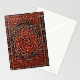 Persian Joshan Old Century Authentic Colorful Red Rusty Blue Vintage Rug Pattern Stationery Cards