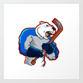 polar bear ice hockey mascot Art Print