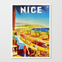 Vintage Nice Italy Travel Canvas Print