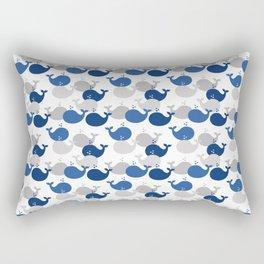 Nautical Whale Navy Blue Gray Rectangular Pillow